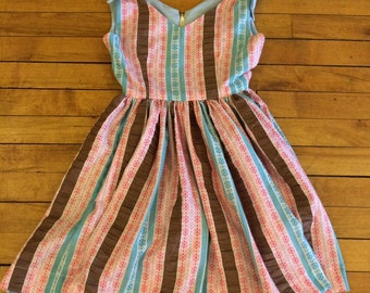 Pink, blue, and brown striped gathered double v-neck girls size 8 dress