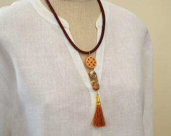 Long tassel necklace Boho tassel necklace Bone, lampwork bead Silk tassel pendant necklace Asian inspired boho jewelry Brown tassel jewelry
