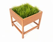 Danish Mid Century Modern Square Oak Planter