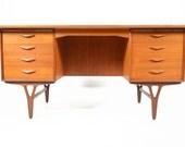 Danish Mid Century Modern Teak V- Leg Desk in Teak