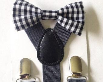 Black Gingham Bow Tie Suspenders Set Gingham Baby bowtie Suspenders Black Boys Bowties White Toddler Necktie Mens Wedding Ring Bearer Outfit