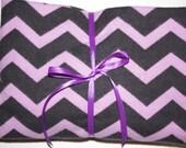 Extra Large Receiving/Swaddle Blanket - Purple Black Chevron 36x42