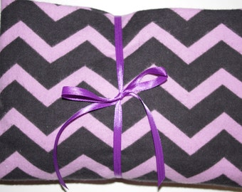 Extra Large Receiving/Swaddle Blanket - Purple Black Chevron 36x42
