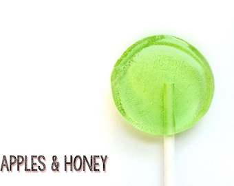 6  Apples & Honey Lollipops // Sweet Treat // Bright Green Candy // Honey Candy // Party Favor