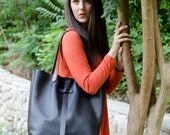 Black Leather Large Tote Bag, Large Leather Tote Purse, Made in USA