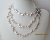 Keishi pearl long necklace with changeable clasp pin option
