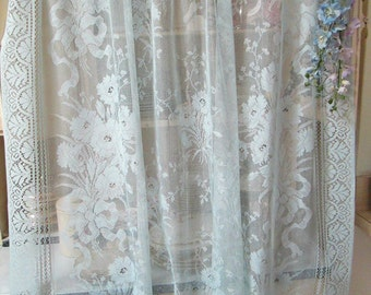 vintage light blue lce panels floral ribbons and bouquets shabby chic lace curtains light blue cottage lace victorian beach herminas cottage