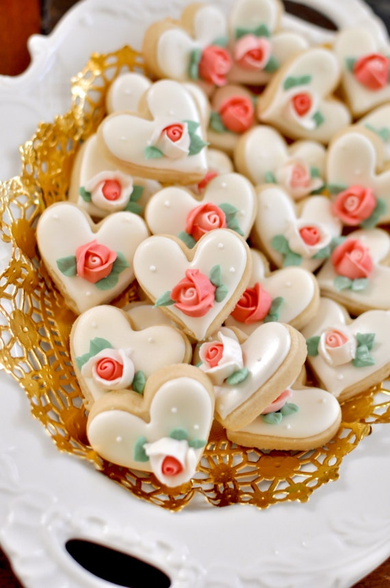 100 Pcs Mini Heart Cookie Favor- Wedding Favors, Bridal Showers, Bridesmaids Gifts, Baby Showers