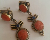 coral Tibetan earrings, Nepal earrings, ethnic jewelry TS-BCR