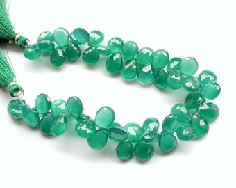 12 mm vivid green faceted heart shaped onyx briolette beads, 8 inches strand, 52 beads