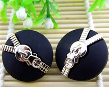 6 pcs 0.59~1.18 inch Matte Black+Rose gold Zipper pattern Plastic Shank Buttons for Coats