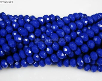 100Pcs Opaque Blue Czech Crystal 2mm x 3mm Faceted Rondelle Loose Spacer Beads For Bracelet Necklace Jewery Making Crafts
