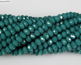 100Pcs Opaque Seagreen Czech Crystal 2mm x 3mm Faceted Rondelle Loose Spacer Beads For Bracelet Necklace Jewery Making Crafts