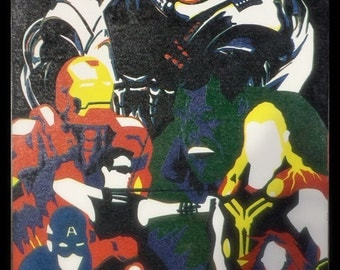"""Avengers: Age of Ultron - 11"""" x 17"""" 6 color Reduction Linocut Block Print - Limited Edition"""