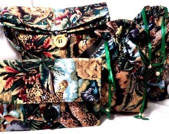 Safari bags-setof four-purse-clutch-2 drawstring bags-bags and purses-Free shipping