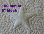 EMBROIDERY PATTERN 150 mm in-the-hoop quilt block - trapunto star for 150 mm hoop