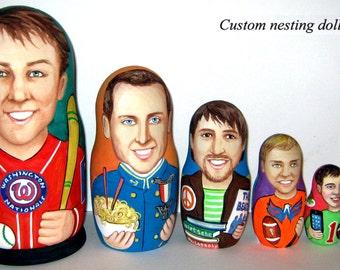 Custom nesting doll  Custom portrait 6 pieces  / by photo