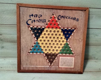Chinese Checker Board with Regular Checkers on the back Hop Ching Checkers