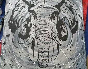 Customize Elephant Painting on Framed Canvas w/ Acrylic Paint