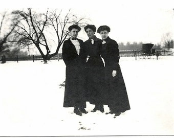 Old Photo Women outside in Snow wearing Long Black Dresses 1910s Photograph snapshot vintage