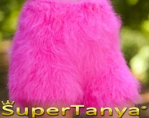 Made to order hand knit shorts, thick and fuzzy mohair short pants in neon pink by SuperTanya