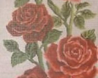 Red Roses Panel Tapestry Canvas Needleport 21 x 48cm Flower Floral