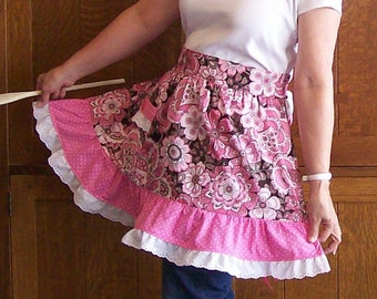 Ruffled Retro Half Apron Pink Floral One Size