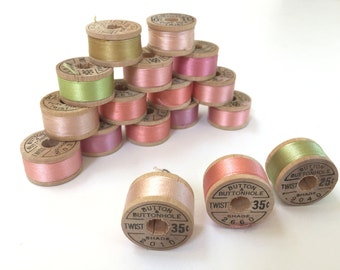 BELDING CORTICELLI - Vintage Thread - Pure Silk - Peach #2660, Pink #2010, or #9040- 10 yd Spools - Buttonhole Embroidery Ribbon Fly Tying