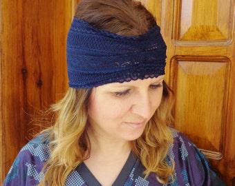 NAVY LACE HEADBAND, wide lace stretch headband
