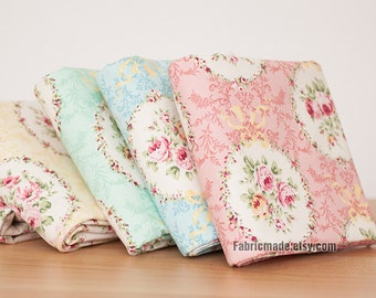 Rose Cotton Linen Fabric, Shabby Chic Bows Flora Linen Fabric Large Flower Clumps - 1/2 Yard
