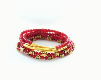 Red Wine Agate Gold Hematite Beads and Gold Bar Stackable Bracelets