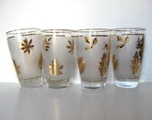 Set of 4 Libbey Gold Leaf frosted drinking glasses, Vintage glassware, Mid Century collectibles, Retro Barware, gift idea