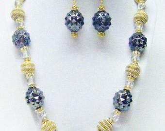 Round Chunky Geometric Acrylic Bead Necklace & Earrings Set