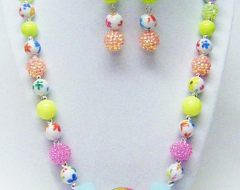 "24"" Fun Chunky Assorted Acrylic Bead Necklace & Earrings Set"