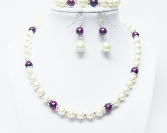 Ivory w/Burgundy Glass Pearl & Rondelle Crystal Necklace and Earrings Set