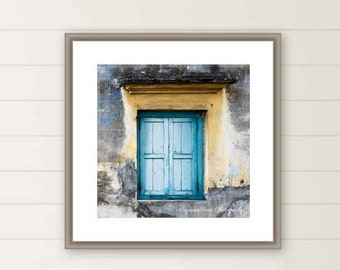 Blue Window photograph Rustic farmhouse window photo Vivid color blue Wooden Panel Heritage square photo print 10x10  gift under 50