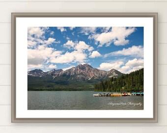 Canada Lake photo Canadian Rockies photo Pyramid Lake print Jasper National Park photo Canada travel print Summer travel photo canada150