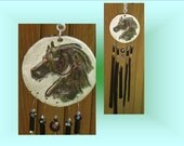 Black Horse Windchime, Ceramic Horse, Fused Glass Mobile, Window Suncatcher, Stained Glass Garden Decor, Equestrian Art Pottery