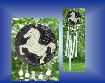 White Horse Windchime, Ceramic Horse Wind Chime, Mobile Window Suncatcher, Stained Glass Garden Decor, Equestrian Art Mobile Pottery