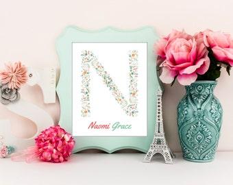 Flower monogram print, custom initial art print, girl nursery decor, calligraphy monogram flower, monogram home decor, shower gift, A-1095