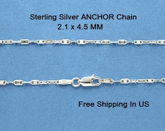 Sterling Silver ANCHOR Chain  Free Gift Box # 10484S