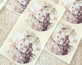 "Adventures of Claudia Round Hydrangea Flower Doll Stickers 1.5"" Seals China Doll Labels"