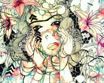 Floral art - Bohemian art - Art Print - Small art print - Watercolor art print - Watercolor portrait - giclee art print - small wall art