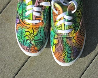 Zentangle sneakers, shoes, sneakers, zentangle art, original art, OOAK, custom sneakers, handpainted shoes