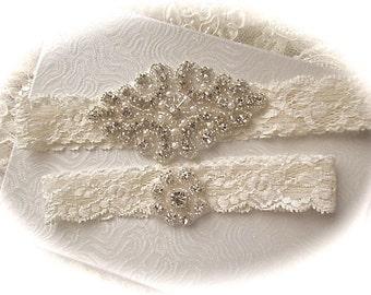 SALE--Wedding Garter - Ivory Lace Garter Set - Rhinestone Garter - Applique Garter - Vintage - Bridal Garter - Vintage Garter