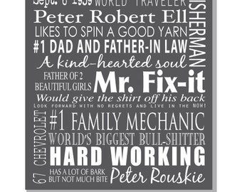 Personalized Wall Art, Unique Fathers Day Gift, For Father's Day, for Grandpa, For him, for Dad, memories on canvas