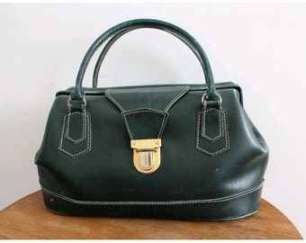1940 green leather DOCTOR BAG