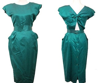 80s EMERALD green DRESS  open back  size 1 made in france acetate  BOW