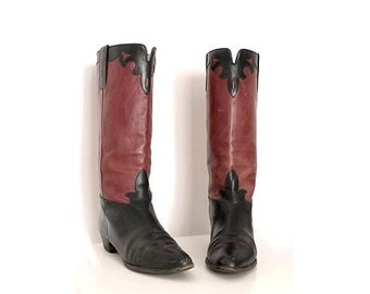 1980 SACHA COLISEE flat riding BOOTS  black and red leather us women 7.5  fr38