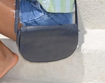 Navy Blue Purse, Blue Leather Shoulder Bag, Women's Vintage Purse, Blue Pocketbook, Ladies' Shoulder Bag